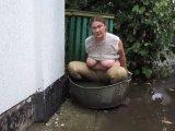 Amateurvideo swimming in a big pelvis after rain from Arabika