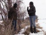 Amateurvideo Sklave, Schnee und Herrin in wellies von bondageangel