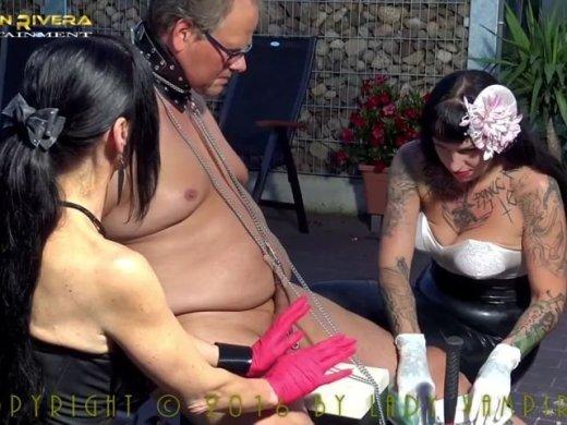 Carmen Rivera und Lady Vampira fordern Sklave haeng deine Ei